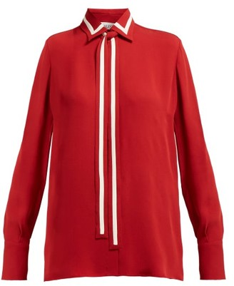 Valentino Striped Silk Georgette Blouse - Womens - Red Multi