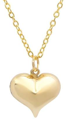 Best Silver Inc. 14K Yellow Gold Puffed Heart Pendant Necklace