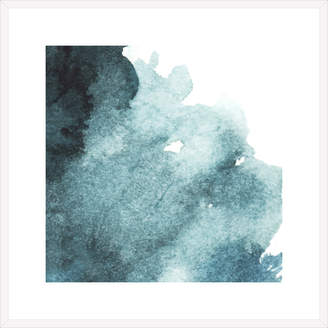 Spyglass Gallery Dark Blue Abstract Watercolour Framed Printed Wall Art