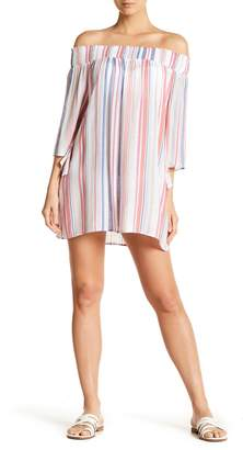 Hawaiian Tropic Cover Me Up Off-the-Shoulder Striped Cover Up