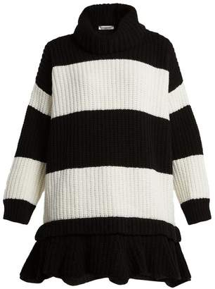 Valentino Striped Roll Neck Wool Sweater - Womens - Black White