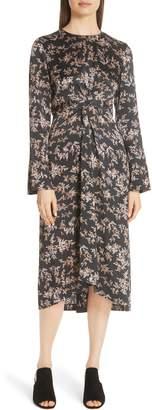 Vince Eden Branch Twist Front Silk Dress