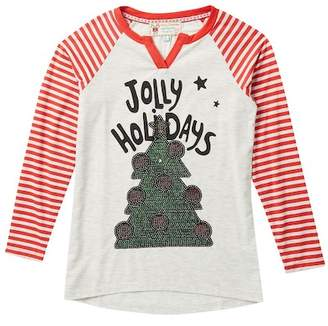 Poof Jolly Holidays Sequin Christmas Tree Striped Sleeve Top (Big Girls)