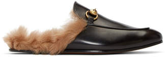 Gucci Black Fur Princetown Slippers