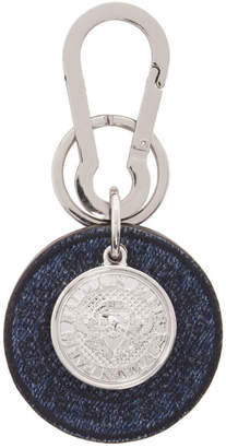 Balmain Silver and Blue Denim Jewels Icon Keychain