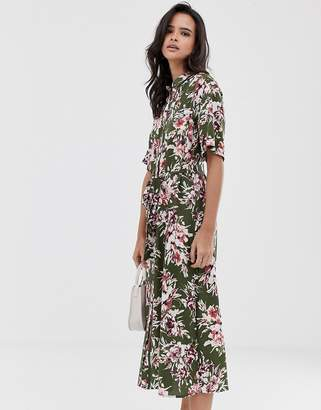 French Connection floral shirt midi dress