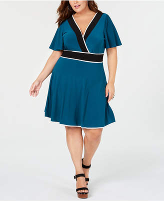 Love Squared Trendy Plus Size Piped Faux-Wrap Dress