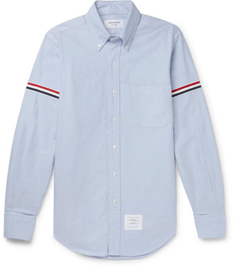 Thom Browne Slim-Fit Button-Down Collar Grosgrain-Trimmed Cotton Oxford Shirt - Men - Blue