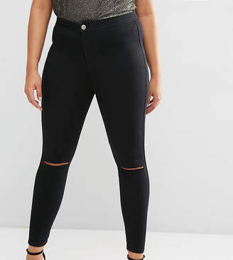 Asos DESIGN Curve Rivington jeggings in clean black with rips