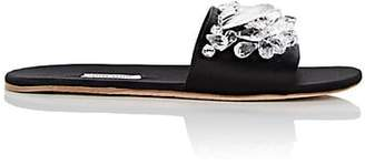 Miu Miu Women's Crystal-Embellished Satin Slide Sandals - Nero