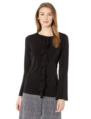 ECI New York New York Women's Long Sleeve Ruffle Front Blouse