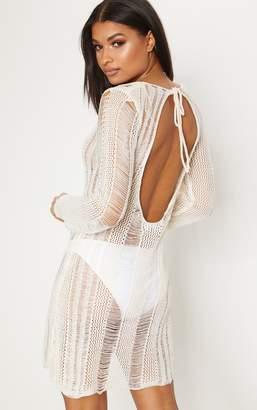 PrettyLittleThing Cream Crochet Ladder Dress
