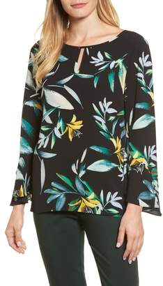 Chaus Floral Print Bell Sleeve Blouse