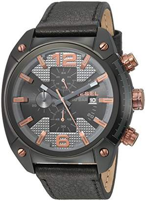 Diesel Men's 'Overflow' Quartz Stainless Steel and Leather Casual Watch