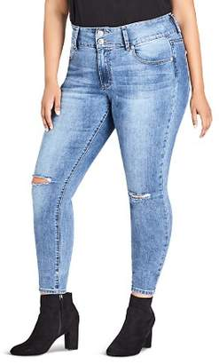 City Chic Plus Harley Ripped Knee Skinny Jeans in Mid Denim