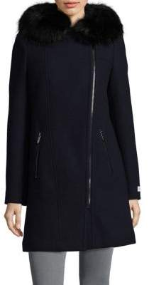 Calvin Klein Faux Fur Trim Long Coat