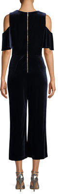 Karl Lagerfeld Paris Cold-Shoulder Velvet Jumpsuit