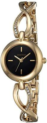 Swarovski Armitron Women's 75/5495BKGP Crystal Accented Gold-Tone Curved Bangle Watch
