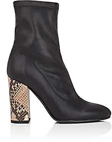 Barneys New York Women's Sock-Style Leather Ankle Boots-Black