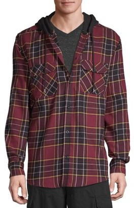 No Boundaries Men's Hooded Flannel Shirt