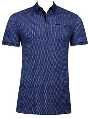 Bugatchi Men's Non-Iron Lightweight Trim Fit Three Button Polo Shirt