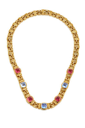 Bulgari Vintage Sugarloaf Tourmaline And Sapphire Necklace