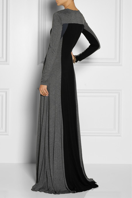 DKNY Color-block jersey maxi dress