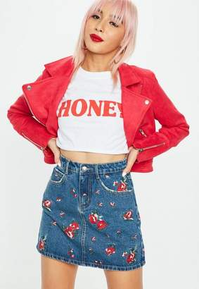 Missguided Petite Blue Floral Embroidered Denim Skirt
