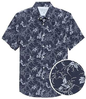 Banana Republic Grant Slim-Fit Luxe Poplin Short-Sleeve Floral Shirt