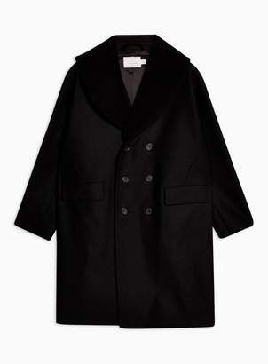 Topman Mens Black Overcoat with Removable Borg Collar
