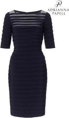 Next Womens Adrianna Papell Black Partial Tuck Long Sleeve Dress