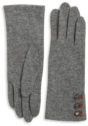 Lauren Ralph Lauren Button Cashmere and Wool-Blend Touch Gloves $50 thestylecure.com