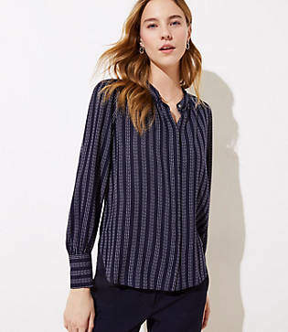 LOFT Petite Textured Stripe Crossover Back Utility Blouse