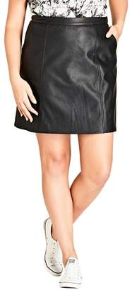 City Chic Faux Leather Miniskirt