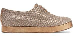Giorgio Armani Metallic Leather-Trimmed Woven Sneakers