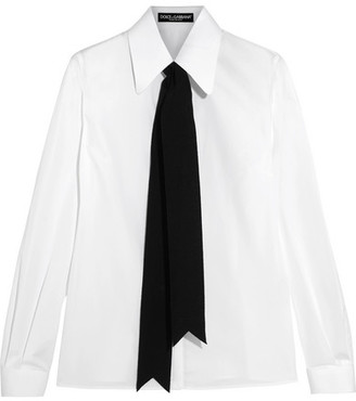 Dolce & Gabbana - Grosgrain-trimmed Cotton-blend Poplin Shirt - White $475 thestylecure.com