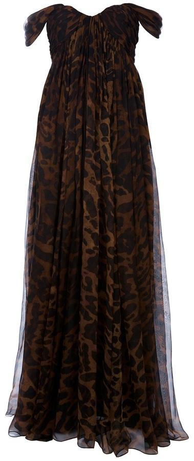 Alexander McQueen Ocelot Print Long Dress