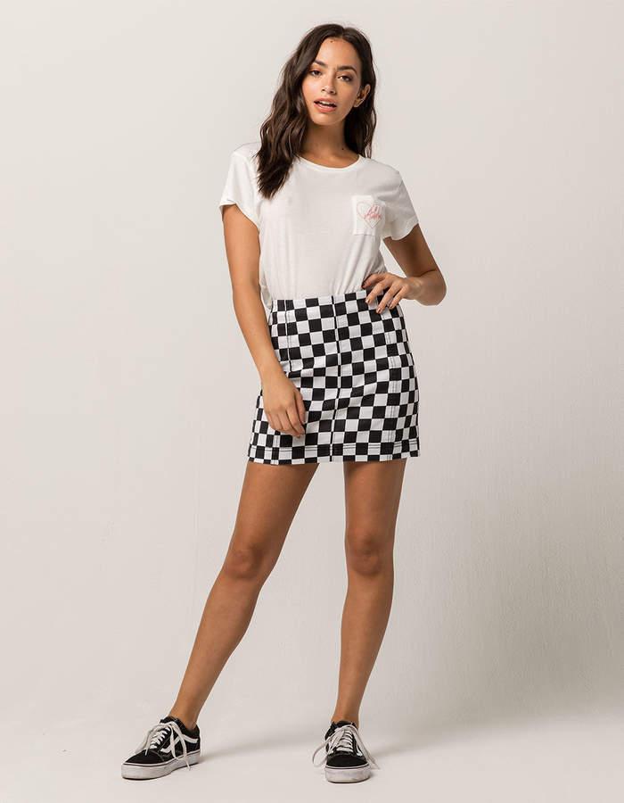 Tinseltown Checkerboard Seamed Mini Skirt