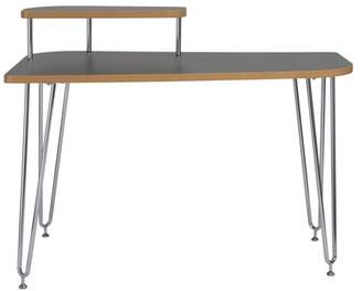 Euro Style Hanh Desk, Gray With Chrome Legs