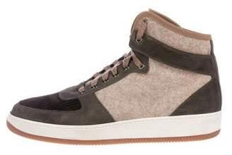 Brunello Cucinelli Wool High-Top Sneakers
