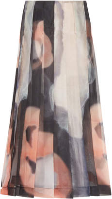 Marina Moscone Pleated Printed Midi Skirt