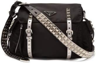4eac3a55f311 Prada New Vela Leather Trimmed Cross Body Bag - Womens - Black Silver