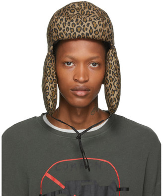 R 13 Tan Leopard Canvas Trapper Hat