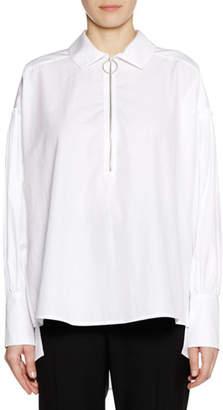 Marni Long-Sleeve Zip-Neck Cotton Woven Shirt