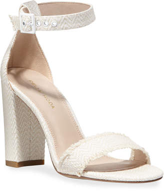 Pelle Moda Bonnie Herringbone Block-Heel Sandals
