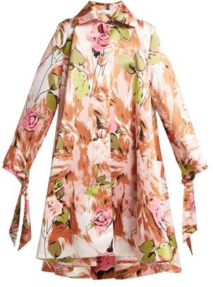 Richard Quinn Floral Print Satin Coat - Womens - Brown Print