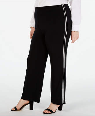 Alfani Plus Size Side-Stripe Wide-Leg Pants