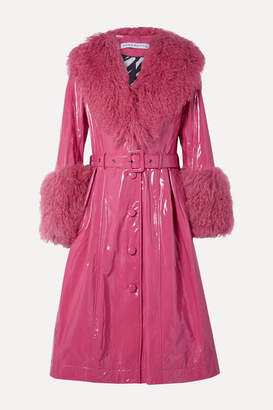 Saks Potts Foxy Neon Belted Shearling-trimmed Patent-leather Coat - Bright pink