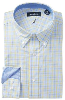 Nautica Yellow Blue Plaid Traditional Fit Dress Shirt