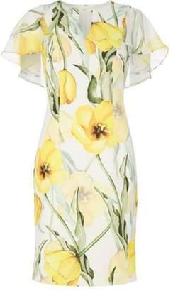 Dorothy Perkins Womens *Roman Originals Yellow Floral Print Cape Shift Dress